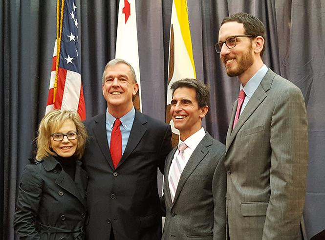 Former state Senator Carole Migden, Supervisor Jeff Sheehy, former state senator Mark Leno, and current state Senator Scott Wiener were all smiles at Sheehy's swearing in in January 2017. Photo: Cynthia Laird