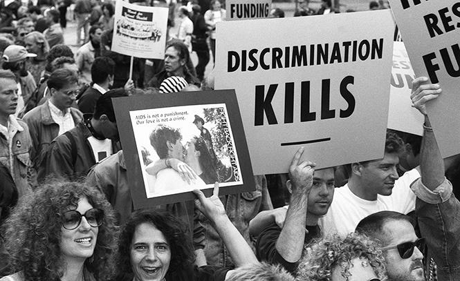 Several thousand activists participated in a Unity March during the International AIDS Conference in San Francisco on June 23, 1990. Photo: Rick Gerharter