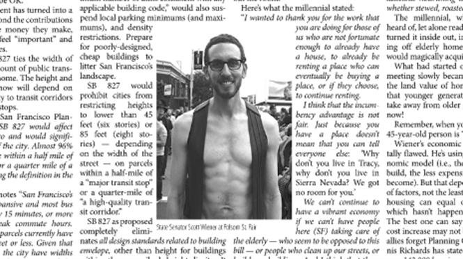 The Westside Observer used a photo of Scott Wiener at the Folsom Street Fair with a story on his housing bill.
