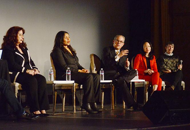Republican San Francisco mayoral candidate Richie Greenberg, center, spoke at Monday's forum, along with candidates Angela Alioto, left, London Breed, Jane Kim, and Amy Farah Weiss