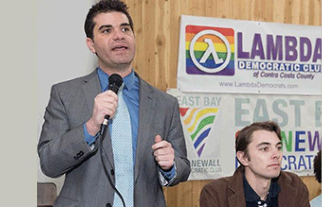 Assembly candidates Andy Katz, left, and Owen Poindexter spoke at last month's forum hosted by the East Bay Stonewall and Lambda Democratic clubs. Photo: Jane Philomen Cleland