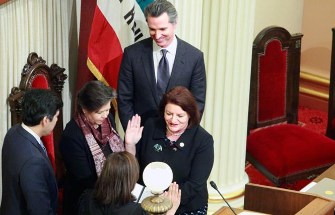State Senate President Pro Tem Toni Atkins, right, was sworn in March 21 by California Supreme Court Chief Justice Tani G. Cantil-Sakauye. Photo: Courtesy Atkins' office