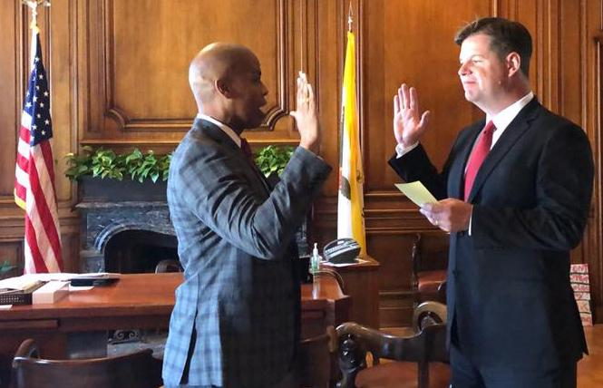 Paul Henderson, left, was sworn in by Mayor Mark Farrell as the permanent head of the Department of Police Accountability. Photo: Courtesy Facebook