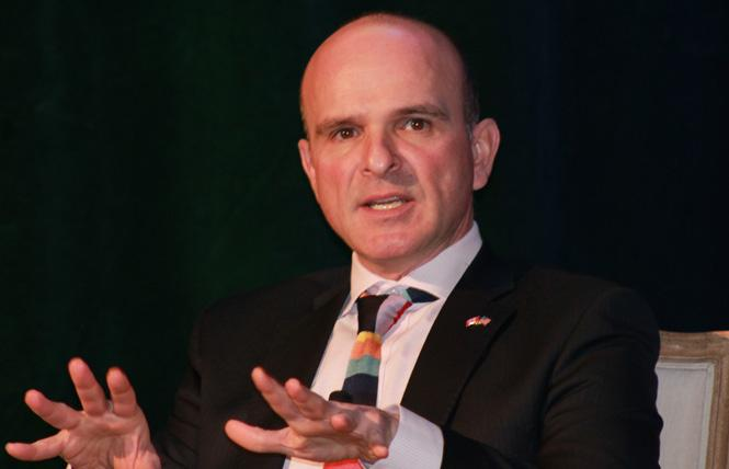 Randy Boissonnault, Canadian member of Parliament for Edmonton Centre, Alberta, and the special adviser to the Prime Minister on LGBTQ2 issues, speaks at the Western Business Alliance LGBT Economic Summit in San Francisco March 16. Photo: Heather Cassell