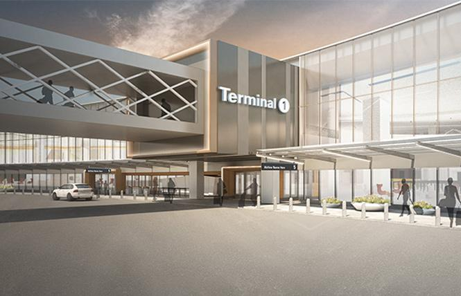 A rendering of the exterior of the new Terminal 1, which will be named after Harvey Milk. Photo: San Francisco International Airport