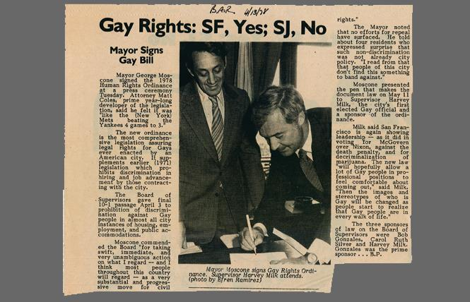 An archived copy of the Bay Area Reporter's coverage from April 1978 shows then-mayor George Moscone signing the historic Human Rights Ordinance as gay Supervisor Harvey Milk looks on. Photo: Courtesy of Holt-Atherton Special Collections, University of the Pacific Library