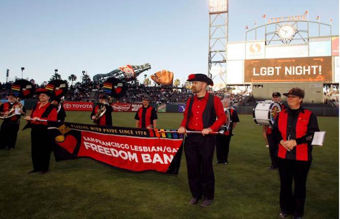 Members of the San Francisco Lesbian/Gay Freedom Band performed at a San Francisco Giants Pride Night. Photo: Courtesy FourTwoNine
