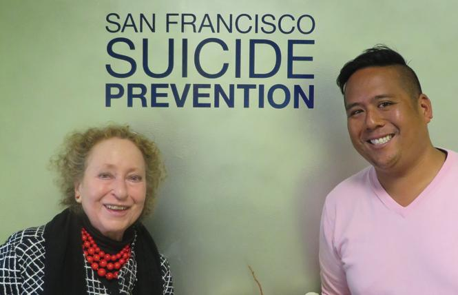San Francisco Suicide Prevention Executive Director Eve R. Meyer, left, and development director Jimmy Ancheta. Photo; Charlie Wagner