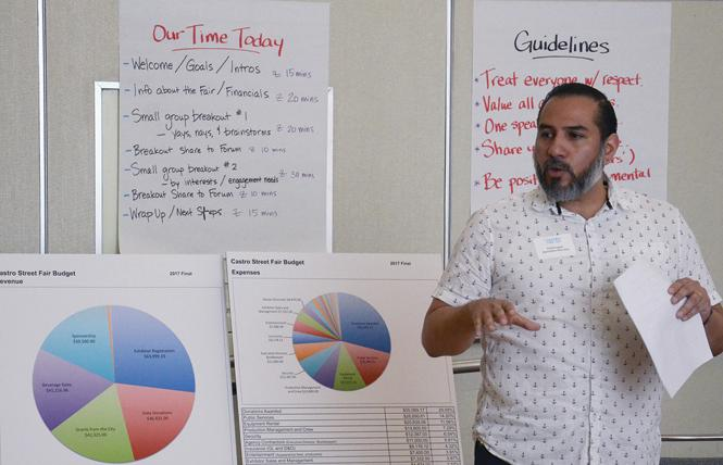 Fred Lopez, executive director of the Castro Street Fair, discussed some of the operations for the event at an April 21 community meeting to talk about changes for the event. Photo: Rick Gerharter