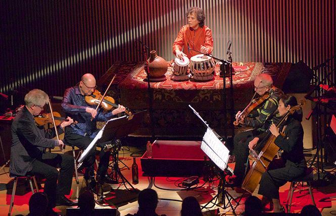 abla player Zakir Hussain performed with Kronos Quartet in the Kronos Festival 2018 at SFJAZZ Center. Photo: Evan Neff