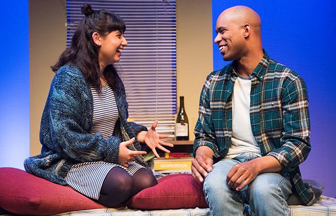 Best friends since childhood, Charlotte (Linda Maria Girón) and Jonny (Kenny Scott) tell each other everything, in The Mystery of Love and Sex at NCTC. Photo: Lois Tema