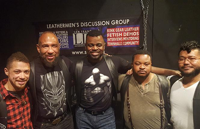 Some members of ONYX Northwest at SF Leathermen's Discussion Group (left to right): Jack Thompson, Graylin Thornton, Daddy Rod, Trey, and Danny Nguyen. photo: Race Bannon