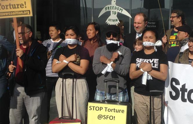 Activists at San Francisco International Airport protested the detention and removal from the U.S. of Philippine human rights observer Jerome Succor Aba at an April 23 demonstration. Photo: Christina A. DiEdoardo