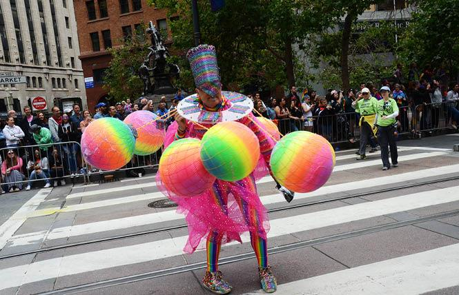 Bruce Beauadette, known for his colorful and creative costumes, joined the San Francisco 2017 LGBT Pride parade. Photo: Rick Gerharter