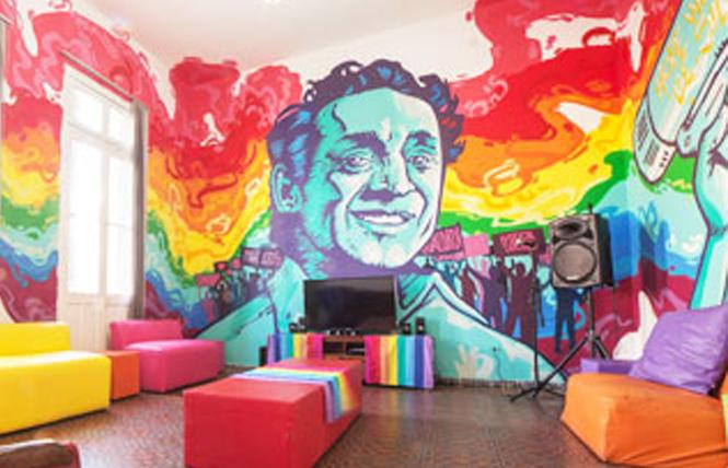 Paraguayan artist Oz Montania's mural of Harvey Milk is painted inside the Paraguayan LGBT Community Center, in Asunción. He will recreate it in the Castro.