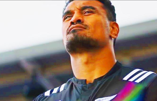 New Zealand's rugby teams have posted a video supporting diversity and acceptance in which players tug on their jerseys, revealing rainbows over their hearts.