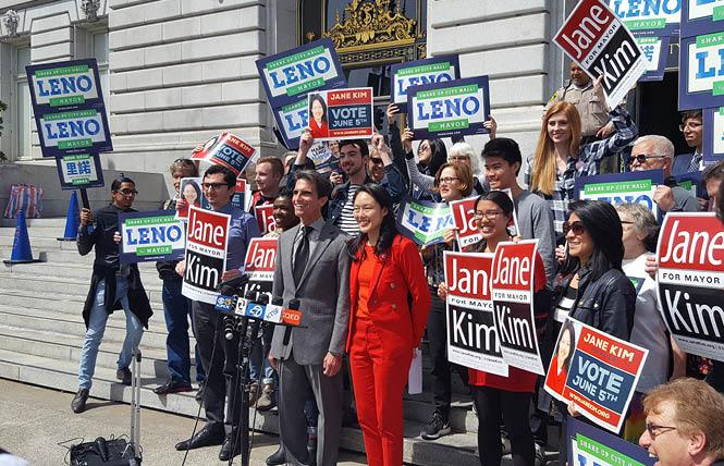 Mayoral candidates Mark Leno and Jane Kim held a news conference Thursday and asked their supporters to rank the candidates as their first and second choices under ranked choice voting in the June 5 election. Photo: Cynthia Laird