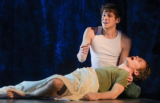 "Benjamin T. Ismail (Louis Ironson) and Randy Harrison (Prior Walter) in Berkeley Repertory Theatre's production of ""Angels in America, Part One: Millennium Approaches."" Photo: Kevin Berne/Berkeley Repertory Theatre"