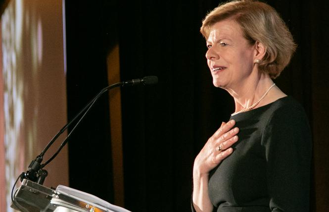 Senator Tammy Baldwin speaks at Equality California's San Francisco gala May 12. Photo: Chris Schmitt Photography