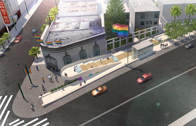 A rendering of the semi-final design for Harvey Milk Plaza shows the entrance at Castro and Market streets, left. Photo: Courtesy Friends of Harvey Milk Plaza/Perkins Eastman