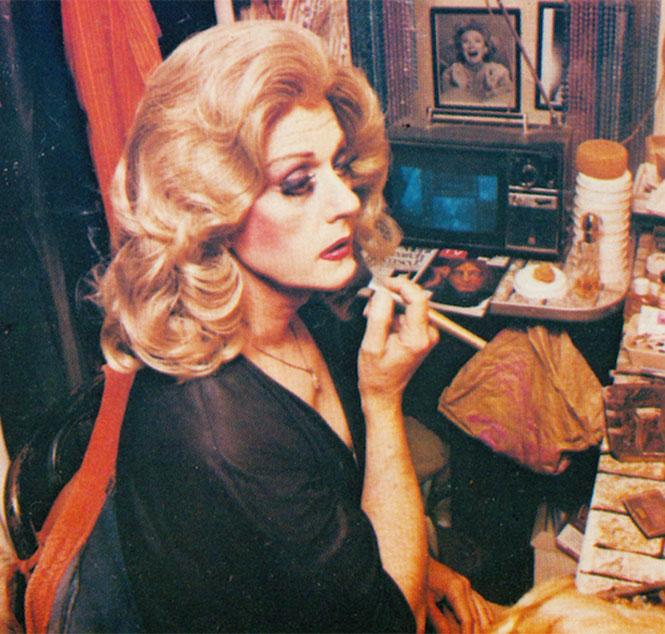 Laverne Cummings in the program for a 1983 Finocchio's show, preparing before a show. Scan courtesy J.D. Doyle
