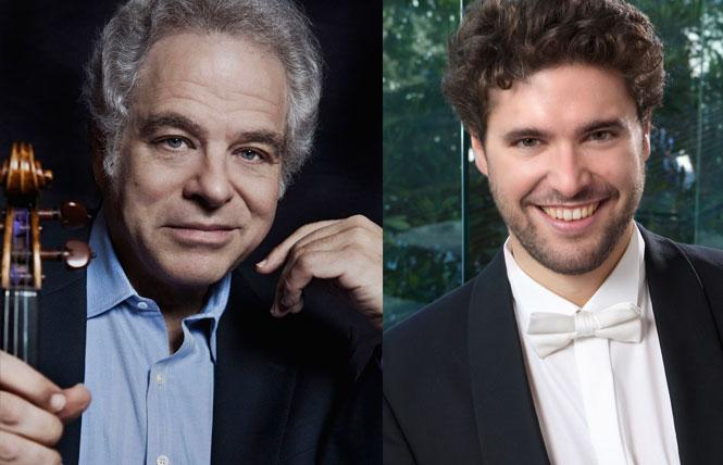LEFT: Violinist and conductor Itzhak Perlman. Photo: Lisa Marie Mazzucco, courtesy Sony Music Entertainment  RIGHT: Christian Reif, Resident Conductor of the San Francisco Symphony Youth Orchestra. Photo: Terrence McCarthy