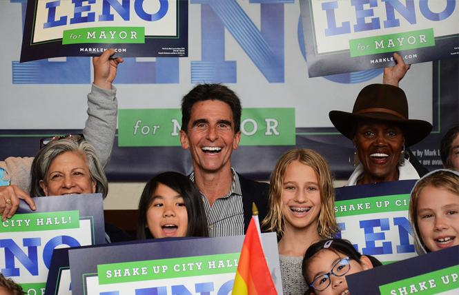 Mayoral candidate Mark Leno, flanked by former supervisors Susan Leal and Sophie Maxwell, was joined by supporters during a weekend get-out-the-vote effort. Photo: Rick Gerharter