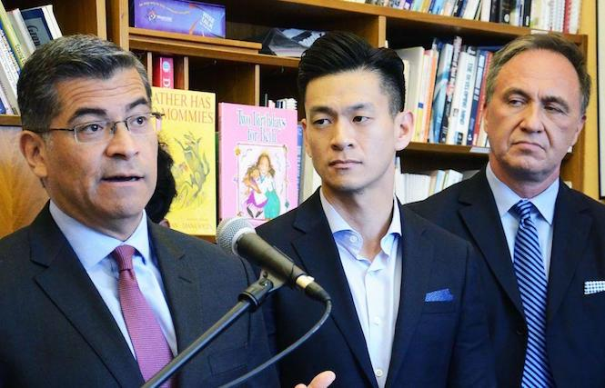 At a news conference in San Francisco Friday, state Attorney General Xavier Becerra, joined by Assemblyman Evan Low and Equality California's Rick Zbur, announced that Oklahoma will be added to the list of restricted states for state-funded and state-sponsored travel. Photo: Rick Gerharter