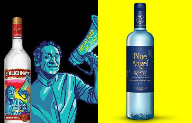Blue Angel Vodka and Stolis Harvey Milk Vodka.