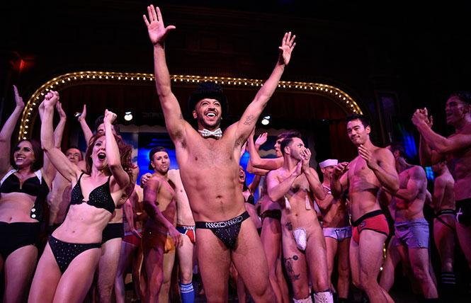 Jai Rodriguez (center) at the first Broadway Bares: San Francisco, in 2016, at Club Fugazi. photo: Steven Underhill