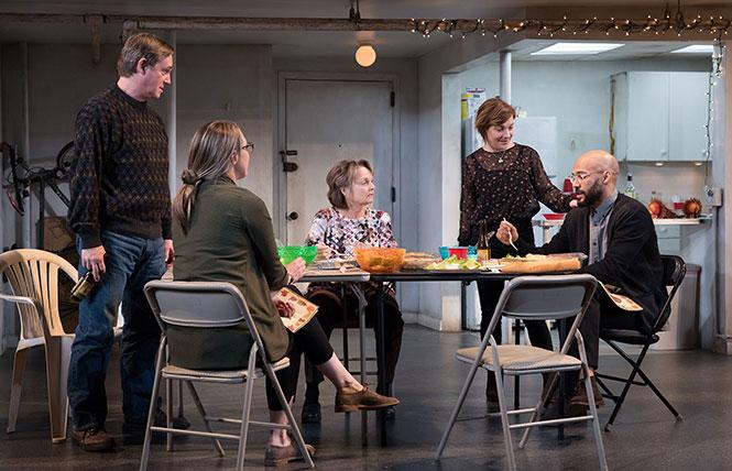"Richard Thomas, Pamela Reed, Daisy Eagan, Luis Vega and Theresa Plaehn in Stephen Karam's ""The Humans."" Photo: Julieta Cervantes"