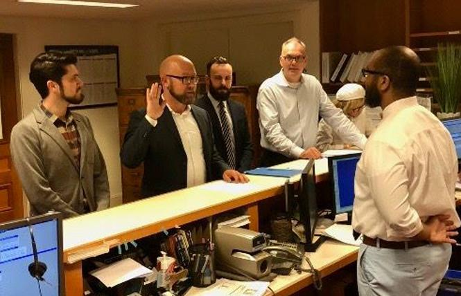 District 8 Supervisor-elect Rafael Mandelman takes the oath of office after filing candidate papers to run for a full term in November. Photo: Facebook