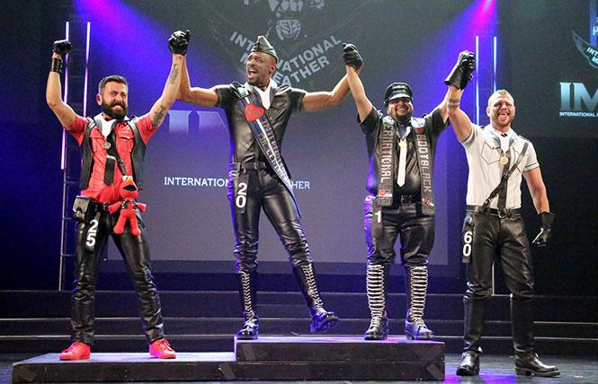 IML/IMBB winners podium (left to right): first runner-up, Sandro Cossero, Mr. Leather Belgium 2017; the new IML 2018, James Lee, Mr. Kentucky Leather 2017; the new IMBB 2018, Lucky Rebel, Mr. Oregon State Leather 2016; and second runner-up, Stephan Ferris, Mr. Friendly SF 2018.  Photo Credit: International Mr. Leather, Inc.