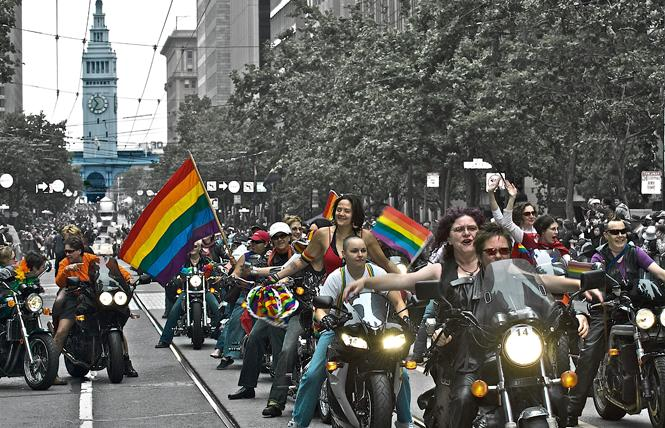 Members of Dykes on Bikes, shown in 2008, lead the San Francisco Pride parade. Photo: Jane Philomen Cleland/Design: Ernesto Sopprani