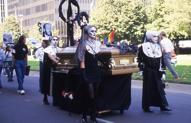 The Sisters of Perpetual Indulgence led a funeral march at an ACT-UP Day of the Dead action at the state Capitol in Sacramento October 29, 1993. Photo: Rick Gerharter