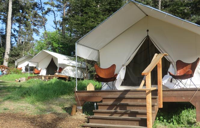 The safari-style canvas tents at Mendocino Grove offer comfortable camping, or glamping. Photo: Charlie Wagner