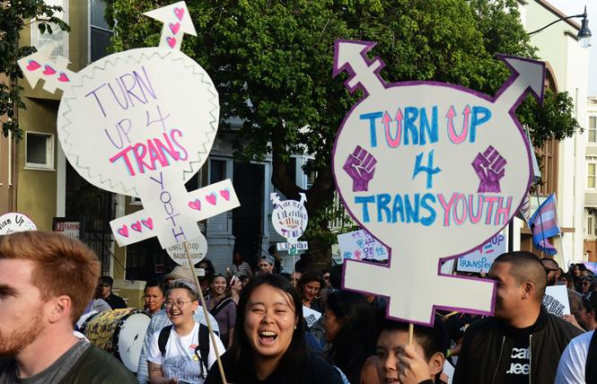 Participants drew attention to trans youth at last year's San Francisco Trans March. Photo: Rick Gerharter