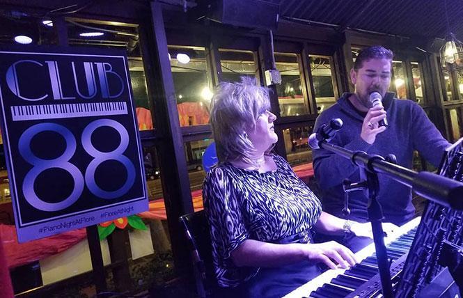 Dennis Sanchez (right) sings as Maria Konner accompanies at Flore's new night, Club 88. photo: Dan Karkoska