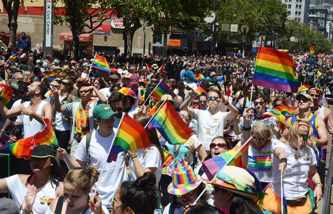 Tens of thousands of people marched in the 2017 San Francisco LGBT Pride parade. Photo: Rick Gerharter