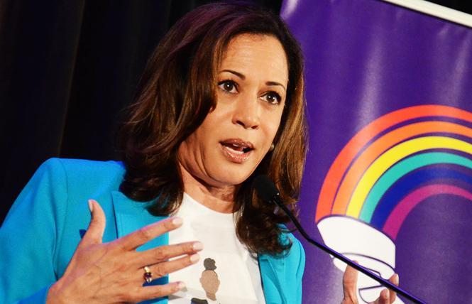 Senator Kamala Harris addresses the Alice B. Toklas LGBT Democratic Club's annual Pride Breakfast June 24. Photo: Rick Gerharter