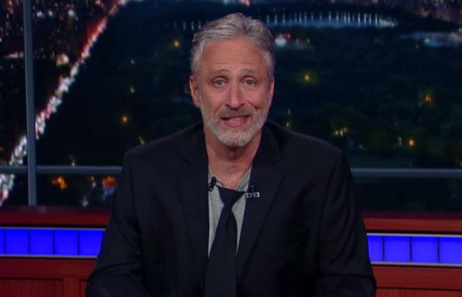 "Jon Stewart took over ""The Late Show with Stephen Colbert,"" when he arrived to give a well-placed rant against Trump. Photo: CBS-TV"