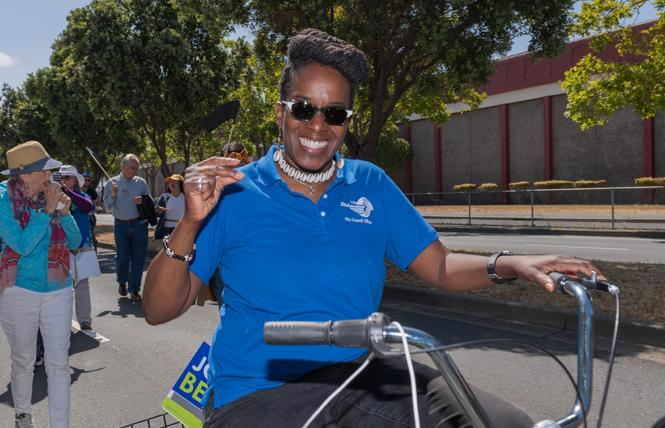 East Bay Assembly candidate Jovanka Beckles rode in Richmond's Juneteenth parade last month. Photo: Jane Philomen Cleland