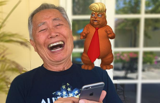 George Takei tries out his new augmented reality political app, House of Cats. Photo: Brad Takei
