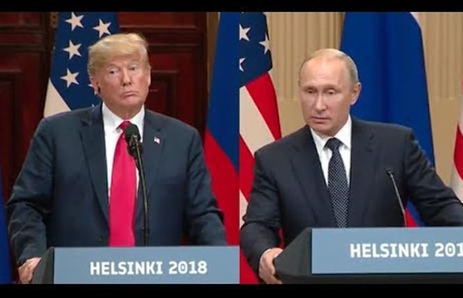 President Donald Trump and Russian President Vladimir Putin talk at a joint news conference Monday in Helsinki, Finland. Photo: Courtesy YouTube