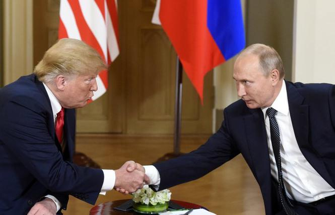 U.S. President Donald Trump meets with Russian President Vladimir Putin Monday, July 16, in Helsinki, Finland. Photo: Heikki Saukkomaa/Lehtikuva via AP