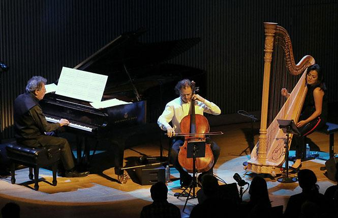 Philip Glass Chamber Trio, with Matt Haimovitz and Lavinia Meijer, performed as part of the Philip Glass Fest at SFJAZZ Center. Photo: Rick Swig