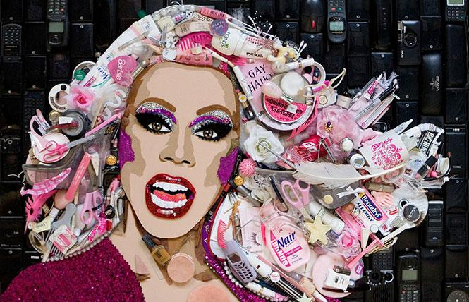 "Jason Mecier's mixed-media portrait of RuPaul, from ""Pop Trash: The Amazing Art of Jason Mecier."" Photo: Chronicle Books"