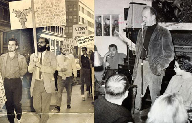 Left: Allen Ginsberg marching with people protesting the war in Vietnam (Oct. 1963). Right: Lawrence Ferlinghetti reading poetry at the Coffee Gallery (which was Miss Smith's Tea Room - a lesbian bar - until the year before this). Photos: San Francisco History Center, San Francisco Public Library