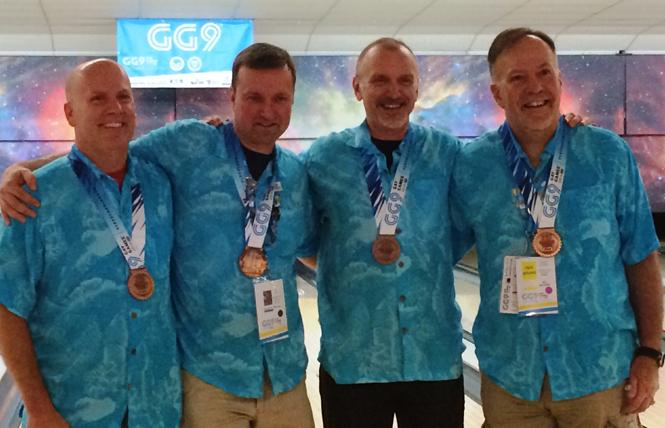 Doug Litwin, right, joined his bowling team for Gay Games IX in Cleveland in 2014 that included Glenn Normandin, left, Jim Hahn, and Andrew Meagher. Photo: Courtesy Doug Litwin