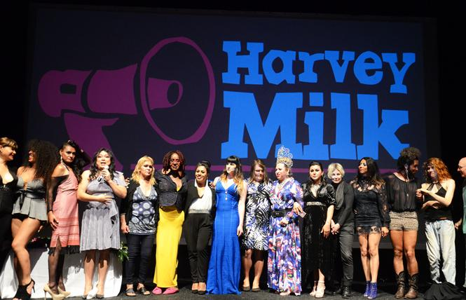 Award recipients from the Harvey Milk LGBTQ Democratic Club all gather on stage near the end of the club's annual Dinner and Gayla July 19. This year all the awardees were transgender people. Photo: Rick Gerharter